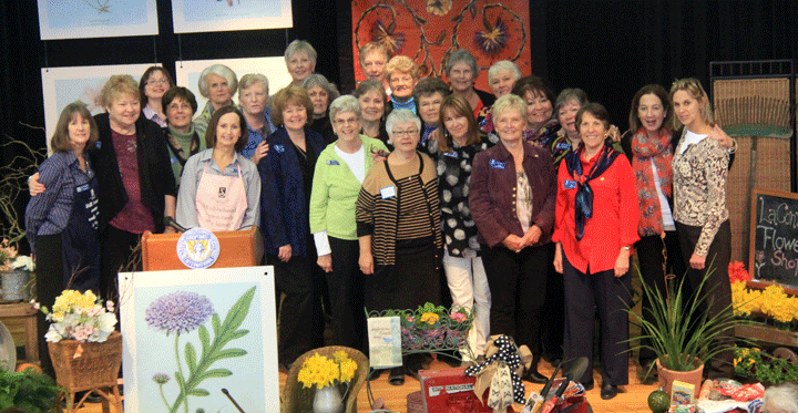 Members of Soroptimist International of La Conner gather on the stage at Maple Hall during the Area Meeting in La Conner on February 21. Photo by Becky Taft.
